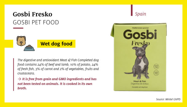 Gosbi Fresko Digestive & Antiox Meat & Fish Complete Wet Dog Food features an on-pack illustration showing the percentage shares of the main ingredients eg 24% beef and lamb (Spain).
