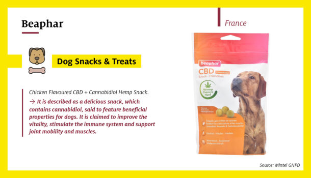Beaphar Snack launched in France contains cannabidiol (CBD) which has acclaimed beneficial properties for dogs, including improving vitality, stimulating the immune system and supporting joints and muscles.