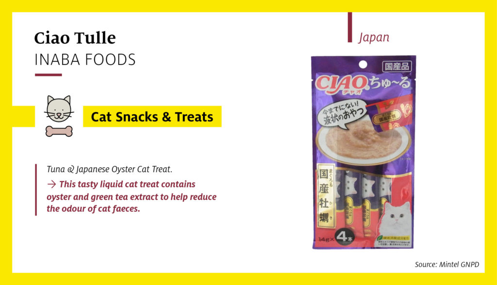 Ciao Tulle Tuna & Japanese Oyster Cat Treat (image below) is a tasty liquid cat treat launched in Japan which contains oyster and green tea extracts and is suitable to be mixed with dry cat food.